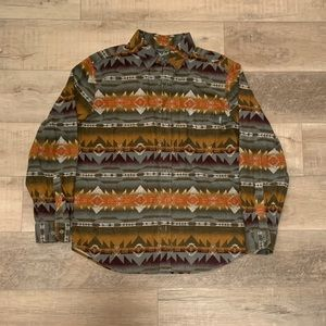 Men's Vintage Woolrich Aztec Tribal Shirt, Large